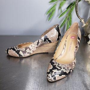 Elaine Turner Snakeskin D'orsay Wedge Heels 7.5